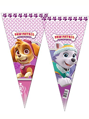 6 x PAW Patrol PINK Sweet CONES Childrens Birthday Kids Cello Party Bags Favours