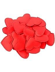 100pcs Forma Corazón Pétalos De Flores De Tela Accesorio Decoración De Boda Fiesta - Rojo