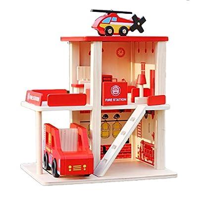 The Cuddle - XXL Feuerwehr Haus aus Holz für Kinder mit Feuerwehrauto, Hubschrauber und Innenausstattung von The Cuddle