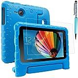 AFUNTA Schutzhülle für Samsung Galaxy Tab E Lite 7.0 mit Displayschutzfolie und Stylus, Cabrio Griffständer Eva Case, PET Kunststoffabdeckung und Touch Pen für Tablet 7 Zoll – Blau