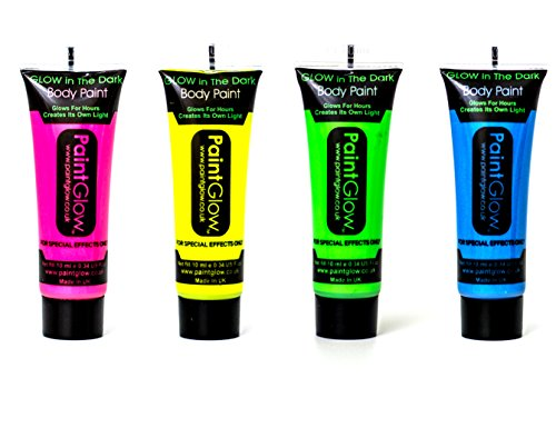 Set of 4 Paintglow Neon Glow in the Dark Face & Body Paint Rave Festival Party by PaintGlow