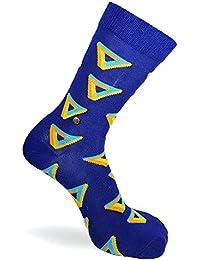 Penrose Blue Socks - The Moja Club Socks - Orange Yellow Triangles
