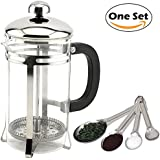 French Press Coffee And Tea Maker 20 Oz (600 Ml) Proper Coffee Press Brewer Pot (Stainless Steel, Heat-Resistant Glass) With Measuring Spoon Set