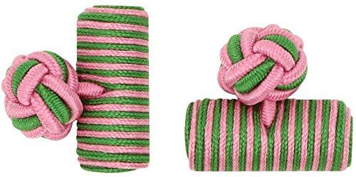 masgemelos-manschettenknopfe-elastische-pasamaneria-barrel-seide-pink-und-grun-gras-cufflinks
