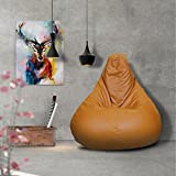 Story@Home XL Leatherite Single Seating Tear Drop Bean Bag Chair Cover Without Filler, Tan