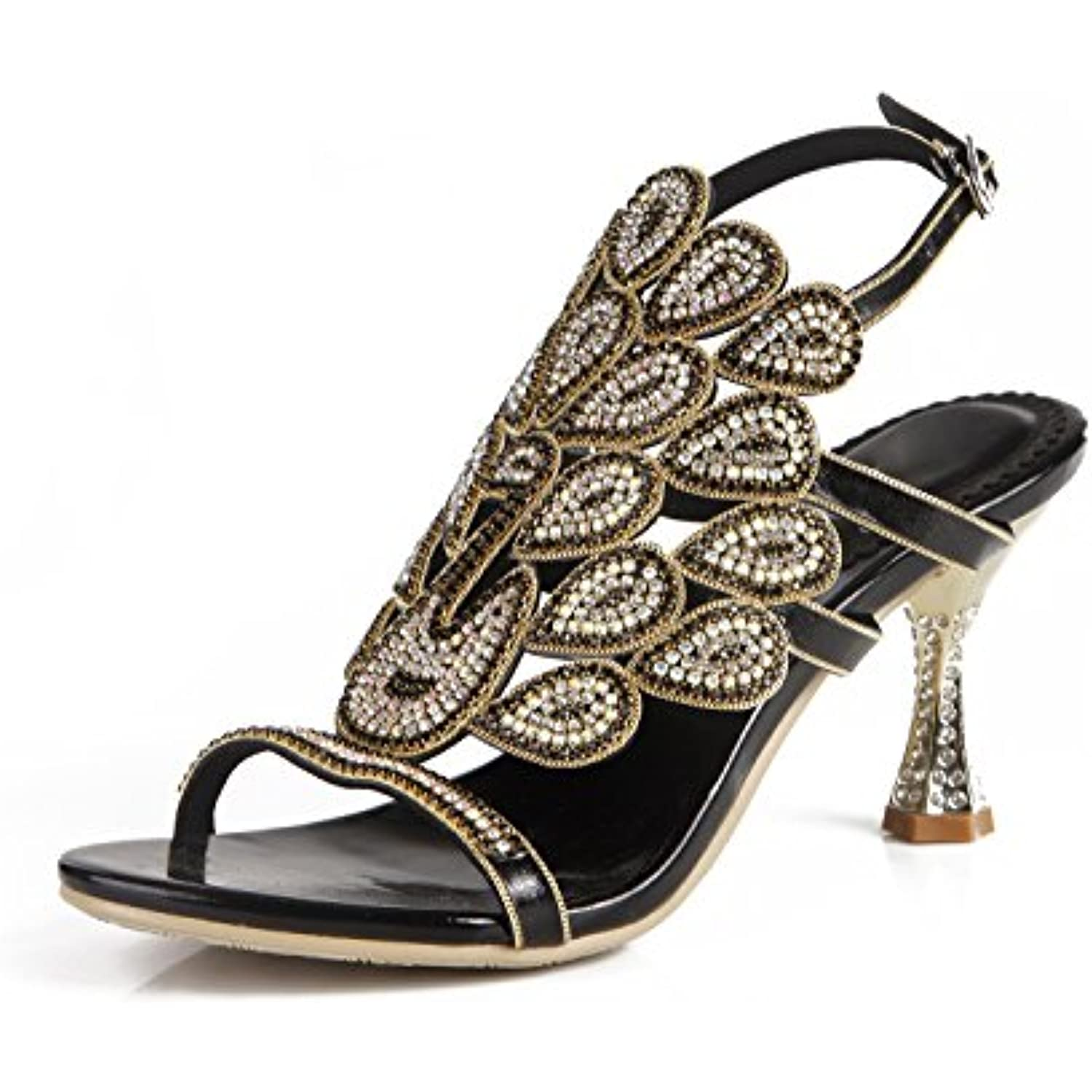 Scarpe da Donna Strass in Pelle Nuova Sexy Estate Strass Hollows Sandali Sexy Nuova Diamante Tacco Medio Open Toe Strass... Parent 12afa1