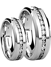 His And Her's Matching 8MM/6MM TITANIUM Wedding Engagement Band Ring Set (Available Sizes K - Z+4) EMAIL US WITH YOUR SIZES