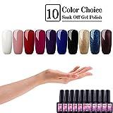 Saint-Acior kit 10 colori semipermanente unghie Smalto Semipermente per Unghie in Gel UV Kit per Manicure Smalti Gel per Unghie
