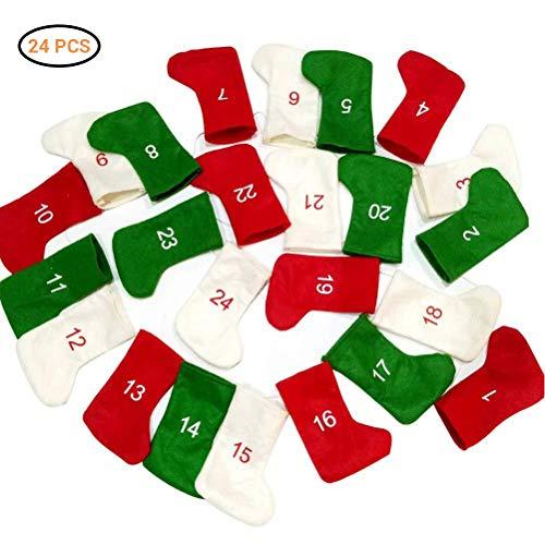 Barsku calendario dell'avvento 2019, 24 giorni, da appendere alla calza della befana, calendario dell'avvento fai da te in feltro, per decorazioni natalizie