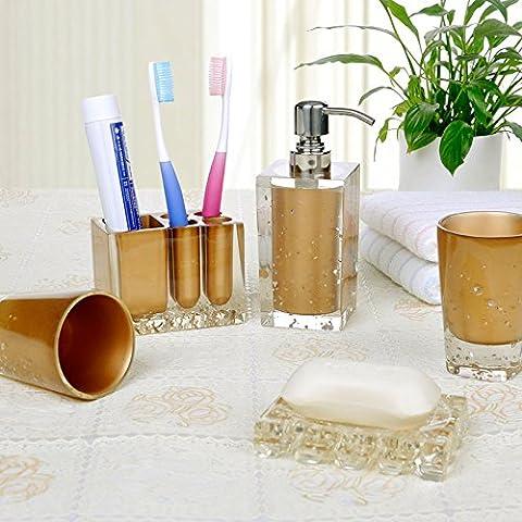 Bagno di plastica di 5 pezzi da Bagno kit per toeletta Utility sul movimento di un pacchetto regalo