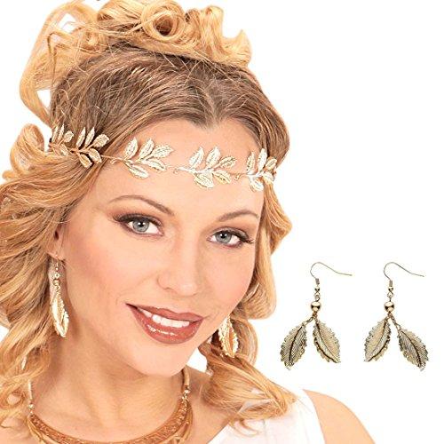 Amakando Blatt Ohrhänger Blätter Elfen Ohrringe Gold Aphrodite Ohrclips Göttin Antike Ohrstecker Griechin Damen Kostüm Schmuck Elben Prinzessin - Göttin Kostüm Schmuck