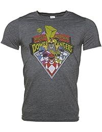Retro Power Rangers T Shirt fr Mnner Holzkohle Marl