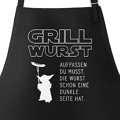 MoonWorks Grill-Schürze für Männer mit Spruch Grill Wurst Aufpassen Du Musst, die Wurst Schon Eine Dunkle Seite Hat Küchenschürze