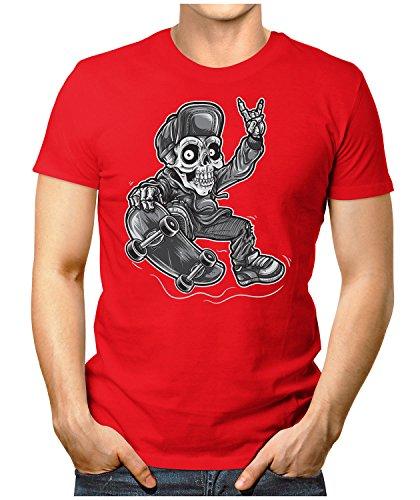PRILANO Herren Fun T-Shirt - SKATER-SKULL-BOY - Small bis 5XL - NEU Rot