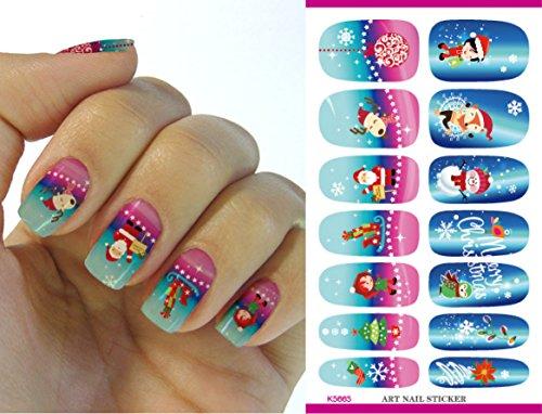 Feuille complète d' Noël autocollant de transfert à l'eau pour l'art des ongles K5665 Nail Sticker Tattoo - FashionLife