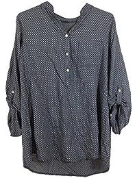 Bluse, Hemdbluse mit Stehkragen, gepunktet, Vokuhila, Made in Italy