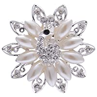 IPINK Women Noble All-match Rhinestone Pearl Prom Peacock Brooch Pin Jewelry