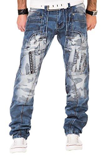 Kosmo Lupo Herren Jeans Denim Hose Japan Style Vintage Clubwear Chino Used Blau (W32/L32)