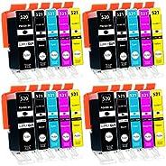 Supply Guy 20 Inktpatronen met chip compatibel met Canon PGI-520 CLI-521 voor Canon Pixma IP-3600 IP-4600 IP-4
