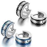 JewelryWe Schmuck 2 Paare Herren-Ohrringe, Edelstahl Creolen Gestüt Ohrstecker, Blau Schwarz Silber