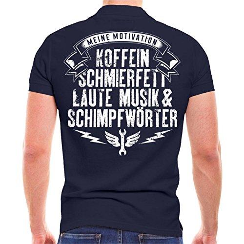 Männer und Herren POLO Shirt Koffein Schmierfett laute Musik & Schimpfwörter Dunkelblau