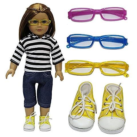 ZITA ELEMENT Täglich Outfit Passt für 18 Zoll American Girl 45-46 cm Götz Puppen Kleider,und andere 18 Zoll Puppen Lot # 3 = 1 tragen + 1 Schuh + 1 Sonnenbrille