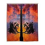 Bad Vorhang für die Dusche 152,4x 182,9cm, natur Landschaft orange Sunset Sky Life Baum, Polyester-Schimmelfest-Badezimmer Vorhang