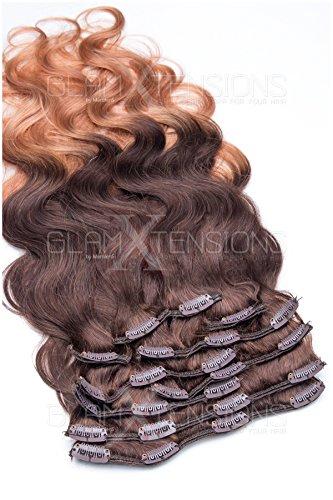 (Clip In Extensions Ombré/Balayage gewellt 10 Tressen - 100% Remy Echthaar 100g 50cm Ombre Clip in Hair Extension 04-27 Schokobraun - Honigblond)