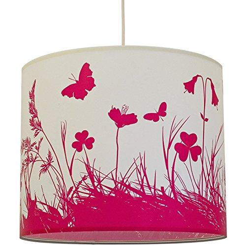anna wand Lampenschirm MOUNTAIN MEADOW – Schirm für Lampen mit Wiesen-Motiv in Pink und Weiß – Sanftes Licht für Tischleuchte / Stehlampe / Hängelampe im Wohnzimmer, Esszimmer, Schlafzimmer