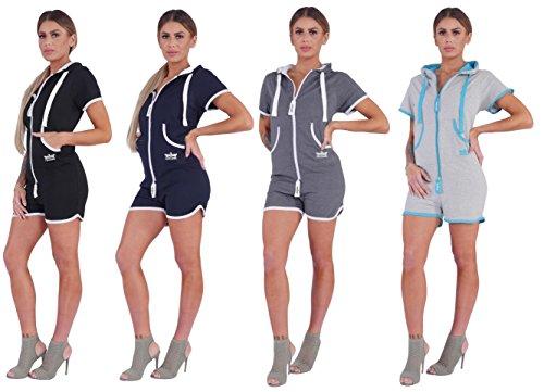 Finchgirl Hotsuit Jumpsuit Overall Onesie Jogger Einteiler (XL, Dark Grey/White) - 4