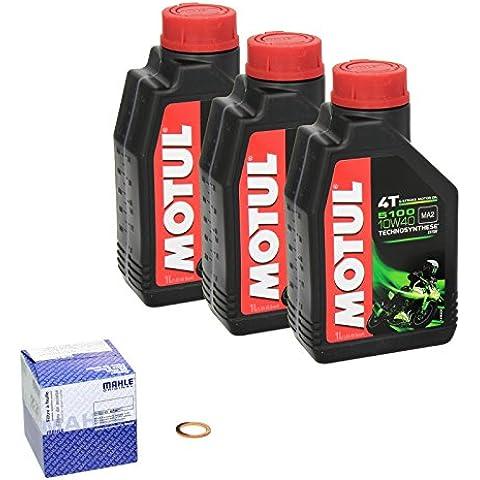 MOTUL 4055029018259 Número filtro de aceite Mahle anillo 1 cambio de aceite kit Motul 5100 10W / 40 motor cobre aceite de sellado para Suzuki salvaje 650 (LS 650) adecuado para el año 1986-2000 (Tipo: NP41B).