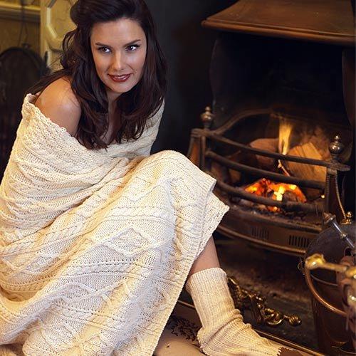 Carraig Donn Irish Aran creme 100% Wolle Decke Überwurf (Irland-flag Sweatshirt)