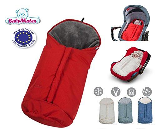 Preisvergleich Produktbild BabyMatex ** BabyFit 2in1 PLUTO 80cm ** Winter-Kombi-Fußsack WIND und WASSERDICHT -- Ideal für 3 und 5 Punkt Gurt Systeme -- Für Maxi Cosi Autositz, Kinderwagen, Schlitten etc. (Rot)