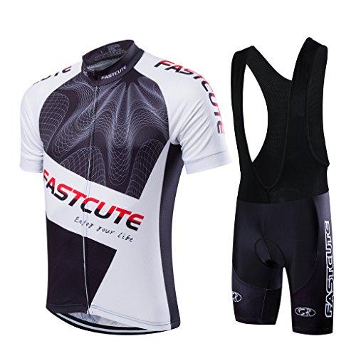 FASTCURE Herren Fahrradtrikot Pro Team Short Sleeve + 3D gepolsterte Trägerhose, Herren, Farbe 2, Large