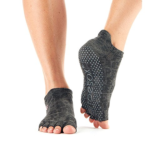 Calcetines antideslizantes ToeSox de media altura para yoga, pilates, calcetines antideslizantes de fitness - 1 par (Peace, Medium)