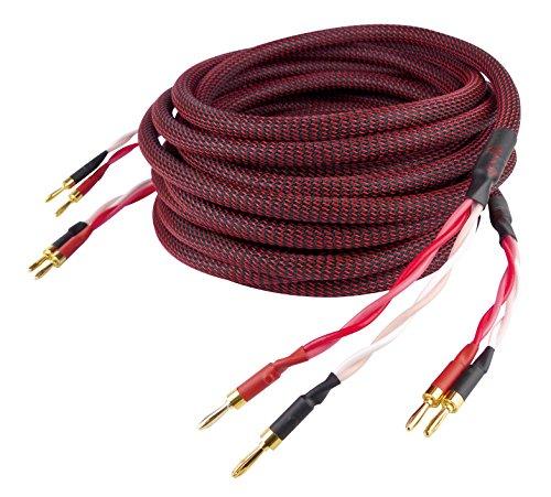Dynavox Perfect Sound Lautsprecherkabel, Paar, Flexibles High-End Lautspecher-Kabel mit hochwertigen Bananensteckern, konfektioniert , Farbe schwarz/rot, Länge 5 m