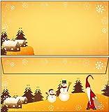 Briefumschläge Wichtel und Schneemann - Weihnachten 100 Kuverts DIN lang ohne Fenster 61173