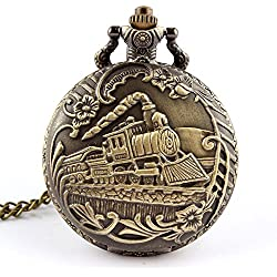 Vintage Steam Train Side View Smoke Railway Bronze Pocket Watch with Chain