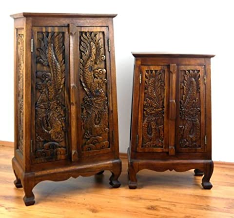 Cabinet Solid Wood with Carved Dragon Design Asian Colonial Style Handcrafted in Thailand, Choose Size (82 x 50 x