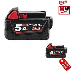 Milwaukee M182B5REDLITHIUM 5.0Ah Li-Ion 4932430483–Pack of 2 batteries