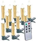 Lunartec Weihnachtsbaumkerzen: 10er-Set LED-Weihnachtsbaum-Kerzen mit Fernbedienung und Timer, gold (Weihnachtsbaumbeleuchtung kabellos)