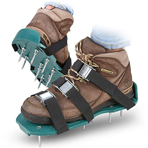Rasenbelüfter Spike Schuhe–Für effektiv Rasen erdelüftung–wird mit 3verstellbare Gurte mit Metallschnallen–Universal Größe, passt alle–Für einen Grüneren und gesünder Garten oder Hof.