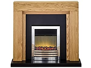Adam Montana Oak and Black Surround with Chrome Eclipse Electric Fire, 2000 Watt