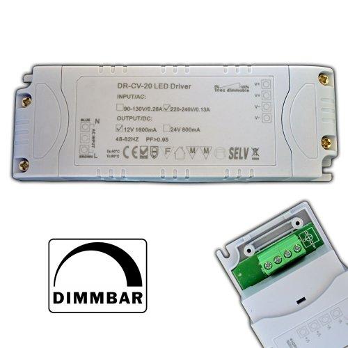 Preisvergleich Produktbild Dimmbarer LED Trafo 12V DC 1-20 Watt Netzteil dimmbar Treiber Transformator für Dimmer G4 MR16 GU5.3