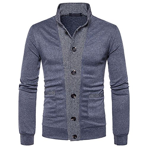 Tefamore Hommes Tops Hommes Patchwork d hiver Stand Neck Sweat-Shirt Tops  Chemisier ( 9f70689a3c5