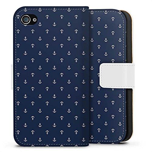 Apple iPhone 6s Hülle Premium Case Cover Anker Blau Maritim Sideflip Tasche weiß