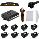 TKOOFN® Universal KFZ Radar Aparcamiento Sensor Alarma Acustica Indicador LUZ Kit LED Marcha Atras (8 Unidades Negro)