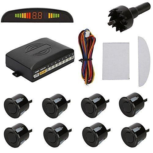 TKOOFN Universal KFZ Radar Aparcamiento Sensor Alarma Acustica Indicador LUZ Kit LED Marcha Atras (8 Unidades Negro)
