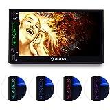 auna MVD-470 Autoradio numérique double écran ( Bluetooth, USB, microSD intégré, lecteur MP3, résolution : 4:3, 16:9, radio FM, PAL, NTSC, SECAM, ècran tactile)