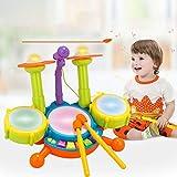 BeesClover Kinder Schlagzeug Set Elektrische Musikinstrumente mit Lichtern, pädagogisches Musik-Schlagzeug Geschenk für Kinder